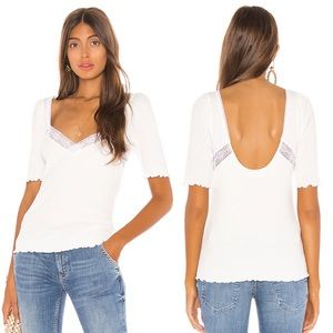 Free People Margaux Sweetheart Top in White